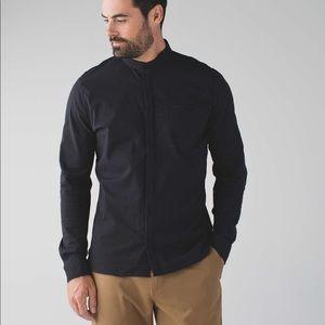 Lululemon Breezy Buttondown Black Collarless Shirt